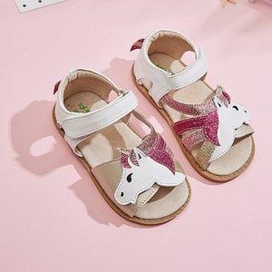 TipsieToes Top Marque licornes en cuir souple en été New Girls enfants aux pieds nus Chaussures enfants Sandales bébé enfant en bas âge 1-12 ans T200703