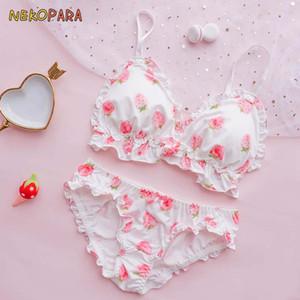 Big Strawberry mignon lait en soie japonais Soutien-gorge Culotte Ensemble Wirefree doux Sous sommeil Intimates Set Kawaii Lolita Couleur Blanc