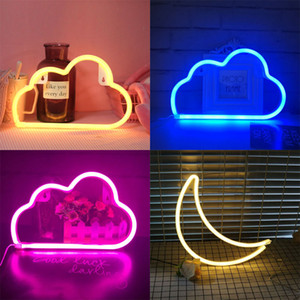 LED Cloud Design Neon Sign Night Light Art Decorative Lights Lampada da parete in plastica per bambini Baby Room Holiday Lighting Xmas Party