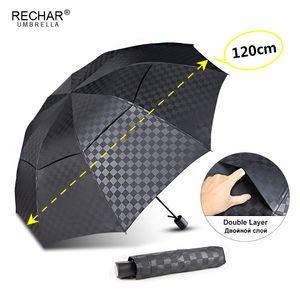 Doble capa oscura de cuadrícula grande de paraguas de la lluvia de las mujeres 3Folding 10Rib a prueba de viento de los hombres de negocios Paraguas Viaje desde Paraguas Parasol T200117
