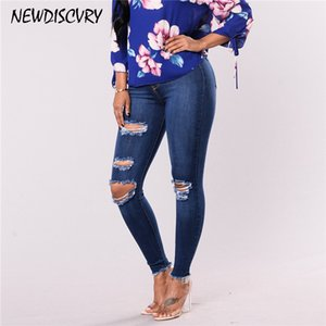 NEWDISCVRY 2019 Moda para mujer Destroyed Ripped Distressed Slim Denim Jeans Boyfriend Jeans Sexy Hole Lápiz Pantalones
