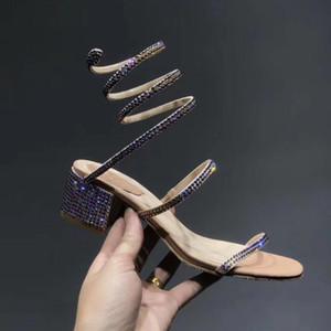 Zapatos de cuero Abrigo de la serpiente mujeres de las sandalias de tacón grueso del partido del verano sandalias de moda de la boda de diamante de la sandalia estilo OpenToe Oro
