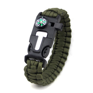 New Outdoor Survival Emergency Paracord Shackle Adjustable Buckle Handmade Paracord Link Climbing Rope Cord Women Homme Bracelets Camping
