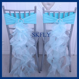 CH098V SKFLY popular amazing color blue spandex band and كورلي willow organza chair sashes