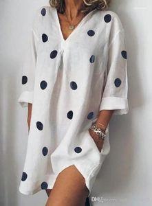 V-образным вырезом платья повседневные горошек свободные Сплит платье мода Женская одежда 5XL женские летние