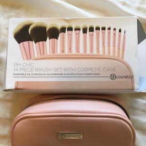 Maquillaje de color rosa 15piece cepillos sintéticos de pelo de cepillo del cepillo con la herramienta de caja de cosméticos Marca B.h cosméticos de maquillaje en polvo