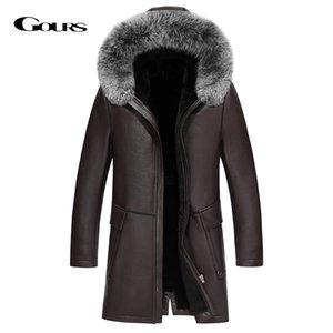 Gours Inverno couro genuíno Revestimento com Natural pele com capuz New JF1805 Jackets Men Moda Preto real Shearling carneiro Longo