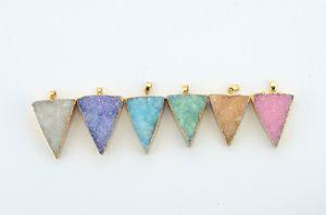 Druzy مثلث العقيق قلادة حقيقية الأحجار الكريمة قلادة متعددة الألوان مع قلادة سلسلة النحاس