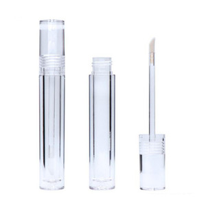 New Makeup Empty 7.8ML Lipgloss Tubes Round Transparent Lip Gloss Tubes With Wand Empty Lip Gloss Tubes Clear
