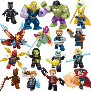 Marvel blocs de construction Ensembles 16pcs / lot Avengers Infinity War Hulk Minifig superhéros Thor Captain America Figures des blocs de construction Jouets