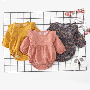 New Designs INS High-end Infant Baby Girls Rompers Floral Tatting Cotton Long Sleeve Round Collar Spring Autumn Newborn Onesies Bodysuits