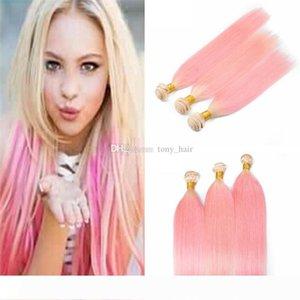 Ombre Блондинка и розовый человеческих волос переплетений шелковистой прямой 3 пачки 2 Tone 613 Розовый Ombre Девы волос Уток Extensions