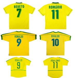 브라질 1,994 1,998 20,082 월드컵 복고풍 저지 호마리우 베베 투 빈티지 축구 유니폼 로날도 호나우지뉴, 히바우두 고전 축구 유니폼