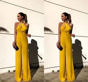 2019 желтый новый дизайн брючные костюмы длина пола шифон событие партии причинные платья с Холтер шеи вечернее платье