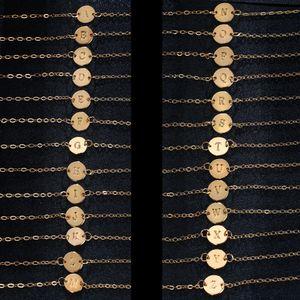 Vendita calda più nuovo placcato oro A-Z lettera ciondolo braccialetto Bangle caviglie coppia gioielli regali di festa Accessori di Natale