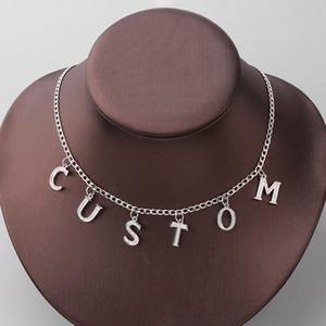 Personalizzata nome su misura collana piena fuori ghiacciato di cristallo su ordinazione dei monili Chain Letter di alfabeto a sospensione per gli uomini Tennis iniziale