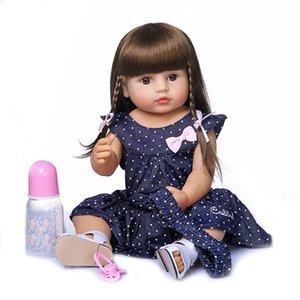 Yeni 55cm 22inch orijinal NPK yeniden doğmuş bebek yürümeye başlayan gir çok yumuşak tam vücut silikon bebek banyo oyuncak