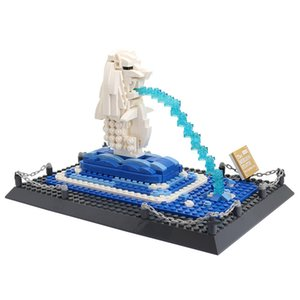 503pcs children intelligence toys Famous architecture MERLION STATUE Small granule Assembling Building blocks kids toys free shipping 04