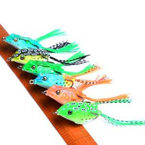 60pcs Soft Ray Frog рыбалки Приманки Двойной Крючки Top воды Искусственный прикорм 5.5cm 12.5g Minnow Crank Bait Сильные рыболовные снасти