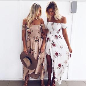 Boho Stil Uzun Elbise Kadınlar Kapalı Omuz Plaj Yaz Elbiseler Çiçek baskı Bağbozumu şifon beyaz maxi elbise vestidos de dresses