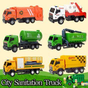 6 PCS 세트 다이 캐스팅 도시 깨끗한 합금 자동차 어린이를위한 장난감 수송 차량 장난감 다이 캐스트 회전 당겨 차 모델 장난감 선물