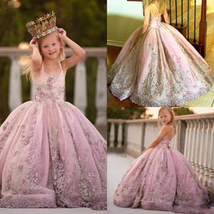 Розовое бальное платье девушки цветка 2020 Pearls кружева аппликация малыша младенца Первое причастие платья Формальные девочки Pageant платья AL3808