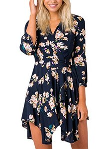 Simplee Apparel Women's Boho Floral Print Scollo a V irregolare Wrap Dress Beach Party