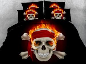 Rey funda nórdica Negro cráneo del fuego de cama gemela Rojo Naranja Colcha Colcha edredón 3 piezas Pillowshams NO