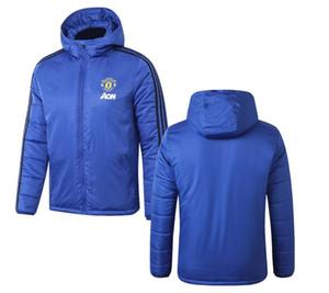 2019 2020 Inverno mantenere caldo FC Manchester giacca Pogba Sport Windcoat 19 con cappuccio cotone imbottito vestiti di calcio giacca sportiva Maillots Coat