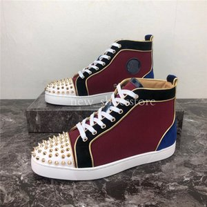 2020 Men Women Casual Shoes Luxury Designer Red Bottom Studded Spikes Fashion Insider Sneakers Black Red White Leather High Boots