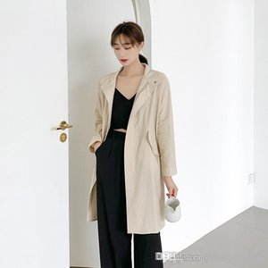 Womens Autumn Desinger Trench Coats Long Sleee Lapel Neck Solid Color Female Clothing Casual Ol SytleOuterwear