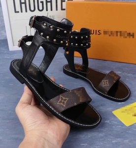 Zapatos de lujo de diseño de las mujeres sandalias gladiador vendaje de la manera sandalias de verano Mujer del estilo de Roma plano ocasional sandalias de playa Femme v