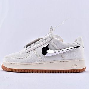 Travis Scott NIKE AIR FORCE 1 Low AQ4211-100 AF1 Preto Designer Men Shoes Hommes Luxo sapatilhas Basket Board Sneakers Sports 36-45
