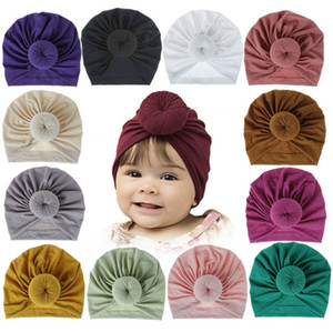18 Farben Kinder Accessoires Neugeborene Kleinkind-Kind-Baby-Jungen-Mädchen-Turban Cotton Strickmütze Winter-warme weiche Cap Fest Knot Soft-Wrap