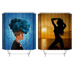 2019new Shower Curtains African Girl 3D digital Waterproof bath curtains 6 styles 180*180cm OEM Pattern customized Free shiping