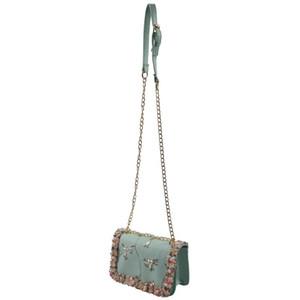 Designer-Femmes Nouveau Sac de haute qualité sac PU Cuir de vachette Sweet Girl chaîne Perle fleur d'épaule Messenger Bag (vert)