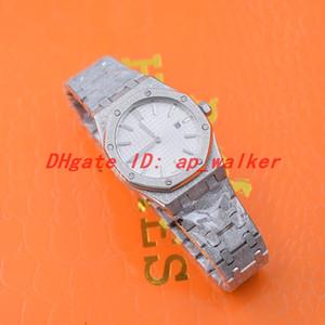 Moda Feminina relógio de prata em aço inoxidável movimento de quartzo geada ouro relógio de pulso 15454BC 33 milímetros
