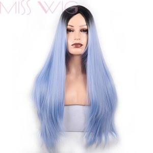 MISS WIG Bleu Ombre longue synthétique droite perruques de cheveux pour les femmes Noir Rouge 24 pouces 6 couleurs disponibles Cosplay Wigs