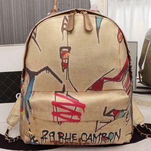 Ombro mochilas Mulheres sacola de alta qualidade saco de escola Malha Moda Graffiti Silk Cotton Carta Zipper Diamante Bag