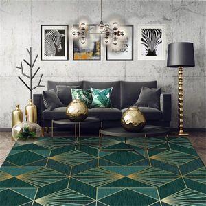 AOVOLL Alan Kilim Yatak Odası Avrupa Koyu Yeşil Altın Geometrik Halı Halı Oturma Odası için Nordic Dekorasyon Ev Bebek