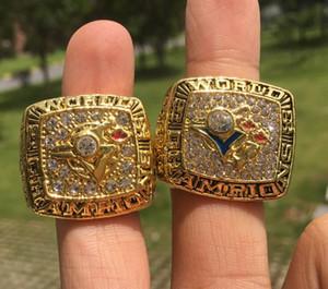 2pcs Toronto 1992 1993 Championnat Champions équipe de baseball de Blue Jay Bague Souvenir Hommes Fan Cadeau 2020 de gros