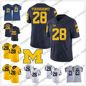 NCAA Michigan Wolverines # 21 Tim Biakabutuka 23 Tyree Kinnel 26 Jourdan Lewis 28 Fitzgerald Toussaint 52 Mason Cole Blanc Bleu Jaune Jersey
