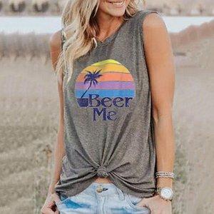 Женская Vest пиво мне радугу кокосового дерева Печать со свободной шею рукавов футболки