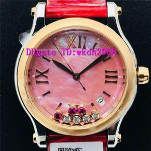 NR V2 36MM Happy Sport Mujer Reloj ETA 2892 automática mecánica del reloj de señoras del diamante 28800 VPH madre-de-perla Dial correa de cuero de zafiro