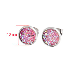 Hot Sell 10mm Resin Stainless Steel Stud Earring Fashion Silver Plated Round Star Druzy Ear Studs for Women Jewelry Gifts Wholesale