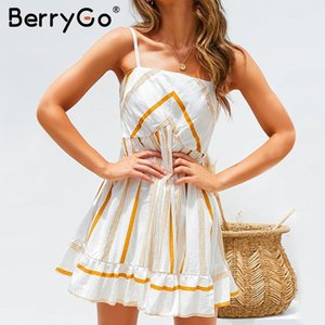 BerryGo Casual rayado suelto mujeres vestido de sol Correa de la colmena vestido corto plisado vestidos Vestidos de las señoras sin respaldo sexy más tamaño