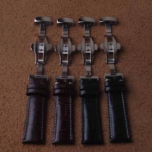 Uhrenarmband 18mm 19mm 20mm 21mm 22mm Kalb echtes Leder-Uhrenarmband Alligator Grain-Uhrenarmband für Marken Männer Armbanduhren schwarz