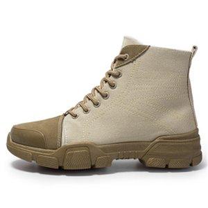 Erkekler Moda Tuval Süet Bilek Boots Sonbahar Kış Motosiklet Boots Erkekler Sneaker Dayanıklı Platformu Çalışma Patik Zapatos De Hombre