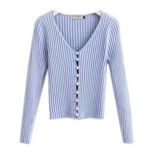 2019 Stylish Knitting Einreiher Pearl Cardigan Sweater Woman Tiefem V-Ausschnitt Langarm Pullover Kleding Jerseis