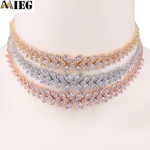 MIEG Sparkling Floral Crystal CZ Cubic Zirconia Chokers Necklace For Women Flower Zirconia Jewelry In Gold Color